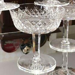 Set / 5 WATERFORD ALANA 4 Champagne Coupe Glasses Tall Sherbet Wine Criss Cross