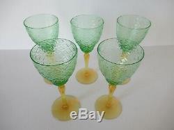 Set (5) semi-antique green & amber vaseline glass wine glasses