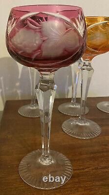 Set 6 BOHEMIAN Coloured CRYSTAL CUT GLASS HARLEQUIN HOCK WINE GLASSES VGC GRAPES
