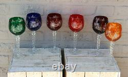 Set 6 Bohemia czech crystal glass wine glasses multi coloured original boxed 60s