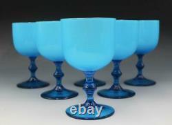 Set 6 MCM Carlo Moretti Empoli Murano Italy Cerulean Blue Cased Wine Glasses