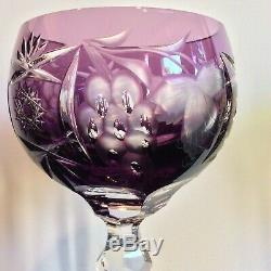 Set 6 VINTAGE NACHTMANN TRAUBE HOCK WINE GLASSES Cut to Clear Crystal