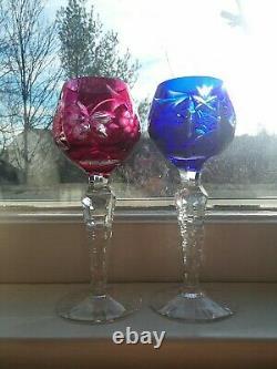 Set 6 Vintage Bohemian Czech Cut Glass Crystal Stemmed Cordial Glasses