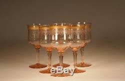 Set 6 Vintage Fry Glass Deco Pink Wine Glasses Water Goblets Gold Trims c. 1930