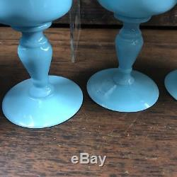 Set 6 Vintage Portieux Vallerysthal Blue Milk Wine Glasses Pv France Opaline