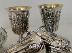 Set 6 large Antique Goblets wine water sterling solid silver glasses vintage