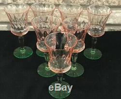 Set 7 Vintage Pink Green Watermelon Diamond Optic Wine Cordial Dessert Glasses