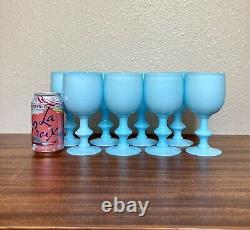 Set 8 Antique Portieux Vallerysthal Blue 6.5 Water Goblets / Wine Glasses