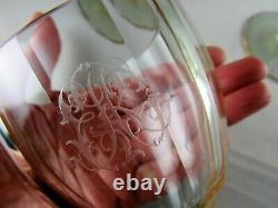 Set 8 Art Deco Moser alexandrite wine glasses goblets etched monogram 6 ½ rare
