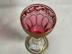 Set 8 Victorian Bohemian Moser Cranberry Cut Gilt Wine Hock Stems
