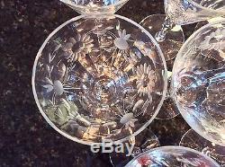 Set 8 Vintage Elegant Optic Grey Cut Crystal Water Goblets Wine Glasses