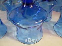 Set 8 Vintage Empoli Italian Art Glasses BLUE OPTIC Water Goblets Stemmed Wines