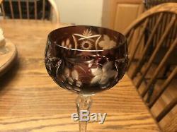 Set Of 12 Ajka Marsala Amethyst Purple Crystal Cut To Clear Wine Hocks