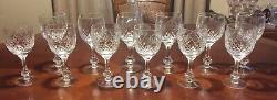 Set Of 12 Bohemian Cut Crystal Knob Stem Vintage Wine Glasses Diamond Strawberry