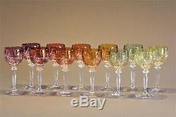 Set Of 12 Czech Crystal Wine Glasses Bohemian In Perfect Condition