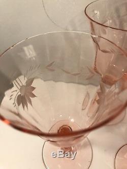 Set Of 23 Vintage Etched Pink Depression Glass Wine Glasses Stemware