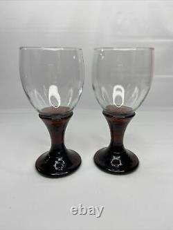 Set Of 2 Fire and Light Signed Plum Wine Glasses Goblets