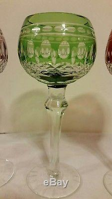 Set Of 4 BOHEMIAN MULTICOLOR CUT TO CLEAR WINE GLASSES CRYSTAL
