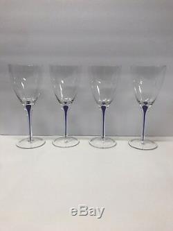 Set Of 4 ORREFORS ART GLASS INTERMEZZO COBALT BLUE 10 CLARET WINE GLASS STEMS