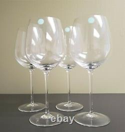 Set Of (4) Tiffany & Co Crystal Wine Glasses 9.5 U Bowl
