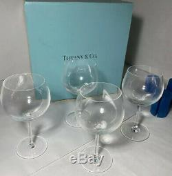 Set Of 4 Tiffany & Co Multi Purpose White Red Balloon Crystal Wine Glasses W Box