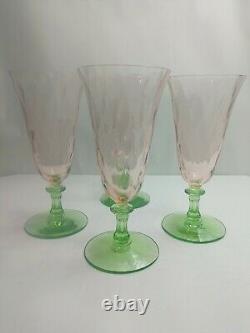 Set Of 4 Tiffin Watermelon Pink & Green Water Wine Desert Stem Glasses Antique