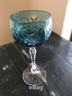 Set Of 5 Ajka Marsala German Crystal Hock Wine Goblets