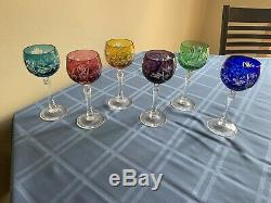 Set Of 6 Cut To Clear 8 Wine Goblets Cobalt Blue Ruby Red