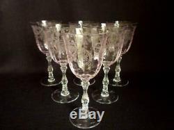 Set Of 6 Lenox / Fostoria Navarre Pink 6 5/8 Wine Glasses / Goblets