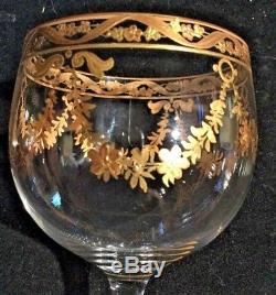 Set Of 6 Moser Wine Glasses Raised Gold Gilt Enamel Floral Garlands Hand Painted