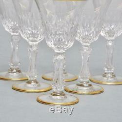 Set Of(6) Saint Louis Crystal Wine Glasses Vertical Cuts & Gold Rim