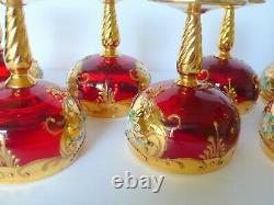 Set Of 7 Italian Murano Moser Like Red Enameled Wine Glasses
