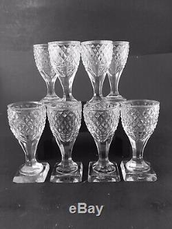 Set Of 8 Antique Georgian Cut Glass Port Wine Square Foot Circa 1820, Aperitif