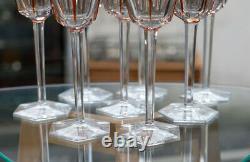 Set Of 8 Baccarat Harcourt Roemer Hock Wine Crystal Glasses Orange