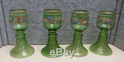 Set Of 8 Enamel & Gilt Bohemian Green Glass Wines Stems