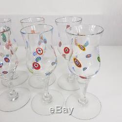 Set Of 8 Murano Wine Glasses Millefiori Cane Design Signed hand blown 18.8cm