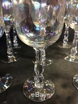Set Of 9 Antique Fostoria Iridescent Wine Glass/ Coral Pearl / Stamped /Art Deco