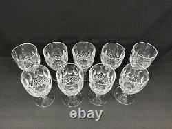 Set Of 9 Waterford Colleen Short Stem Claret Wine Glasses 4-3/4 Excellent