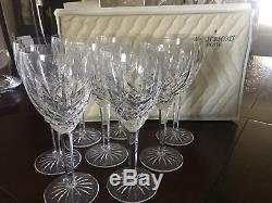 Set Of Eight (8) Waterford 7 1/8 Araglin Golden Crystal Wine Claret Glasses