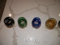 Set Of Six (6) Vintage Czech Bohemian Cut To Clear Crystal Wine Glasses 8 Tall