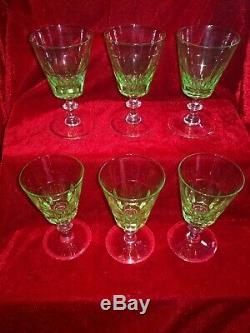 Set Of Six Victorian Uranium Wine Glasses