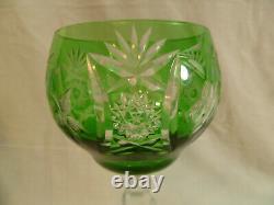 Set Of Three Vintage Nachtmann Germany Green Cut Crystal Glass Wine Goblets