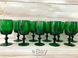 Set of 10 Mid Century Modern Gorham Reizart Water Wine Glasses Tumbler green