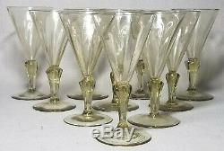 Set of 10 Venetian Murano Silesian Stem Amber Glass Blown 5 Tall Wine Glasses
