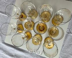 Set of 11 Signed Rosenthal Crystal #900 Clairon 7 Wine Glasses, Amber Stems