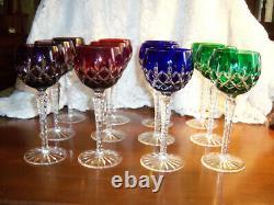 Set of 12 Ajka Arabella Cut to Clear Crystal Wine Hocks 8