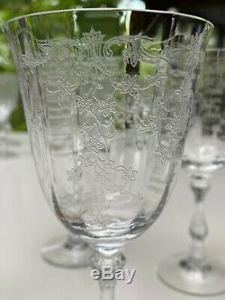 Set of 12 Fostoria Navarre Crystal Wine Glasses 6 1/2 Tall Etched Claret 6.5oz