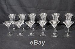Set of 12 Vintage Etched Depression Glass ROSE FLORAL Wine & Champagne Glasses