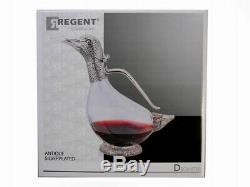 Set of 2 Duck Decanters Silver Plated Glass Water Wine Jug Carafe Gift Regent