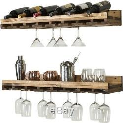 Set of 2 Rustic Reclaimed Wood Stemmed Wine Glass Shelves Floating Shelf 36 W